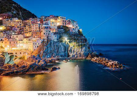 Night At Manarola Village In Cinque Terre, Italy