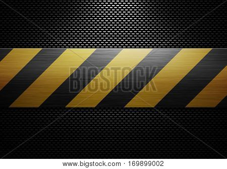 Abstract modern black carbon fiber textured material design with metal plate warning tape in center for background graphic design