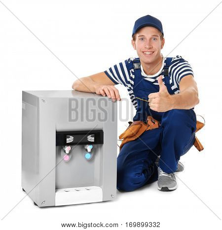 Specialist with water cooler on white background