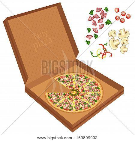 Delicious Pizza In A Cardboard Box.