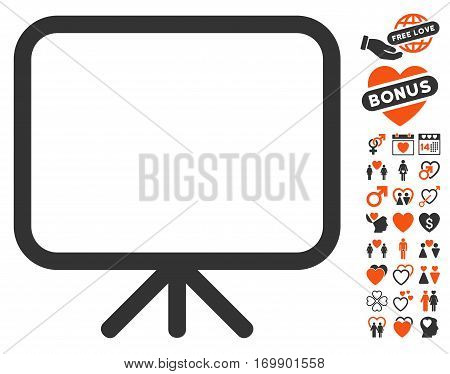 Presentation Screen pictograph with bonus decoration clip art. Vector illustration style is flat iconic symbols for web design app user interfaces.