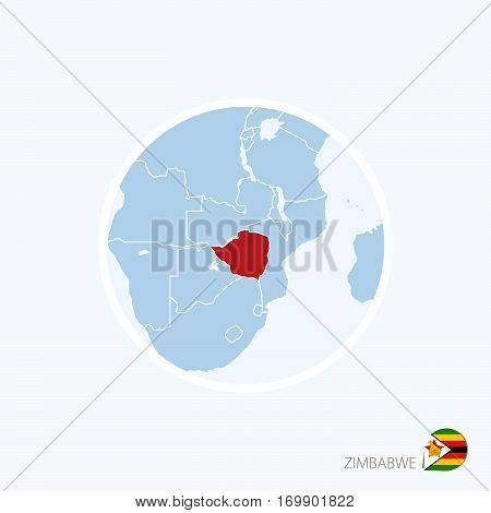 Map Icon Of Zimbabwe. Blue Map Of Africa With Highlighted Zimbabwe In Red Color.