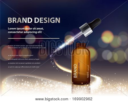 Vector 3D illustration advertising poster with nutrient cosmetic premium products, beautiful dark bokeh background with a glass bottle