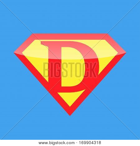 Superhero logo with the letter D. Vector illustration