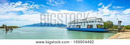 Thailand - February 3: Panoramic scene of Koh Chang Ferry with Koh Chang background at Trat Province on February 3 2017 in Thailand.