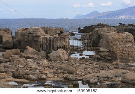 Coast of the island Fabignana, right off the main island Sicily