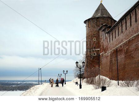 Russia Nizhny Novgorod - February 09 2017: Winter walk along the walls of the Nizhny Novgorod Kremlin.