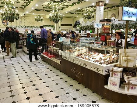 LONDON - DECEMBER 19: The Food Court at Harrods Department Store on December 19, 2016 in Knightsbridge, London, UK.