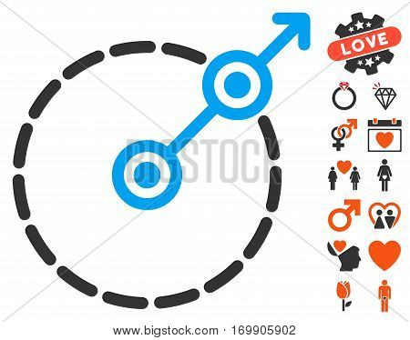Round Area Exit icon with bonus marriage clip art. Vector illustration style is flat iconic symbols for web design app user interfaces.
