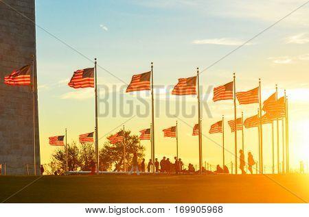 Washington Monument at sunset - Washington D.C. USA