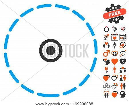 Round Area pictograph with bonus lovely symbols. Vector illustration style is flat iconic symbols for web design app user interfaces.