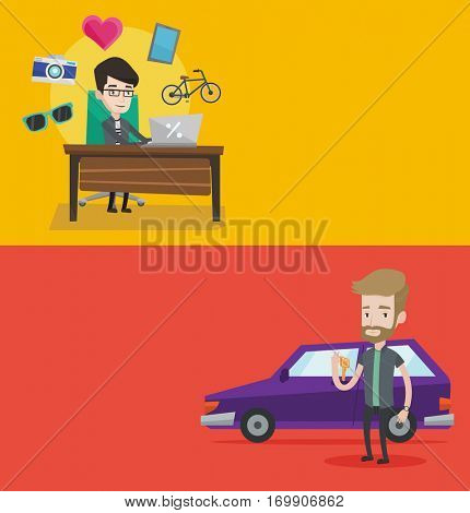 Two shopping banners with space for text. Vector flat design. Horizontal layout. Man holding keys to his new car. Happy man showing key to his new car. Young man standing on the backgrond of new car.