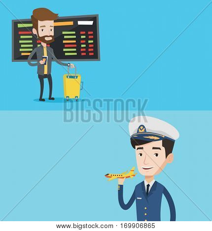 Two transportation banners with space for text. Vector flat design. Horizontal layout. Young airline pilot holding a model airplane in hand. Cheerful airline pilot in uniform. Smiling confident pilot.