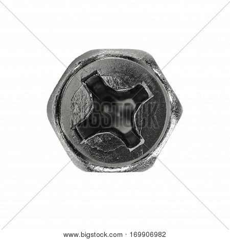 Macro screw heads isolated on white background