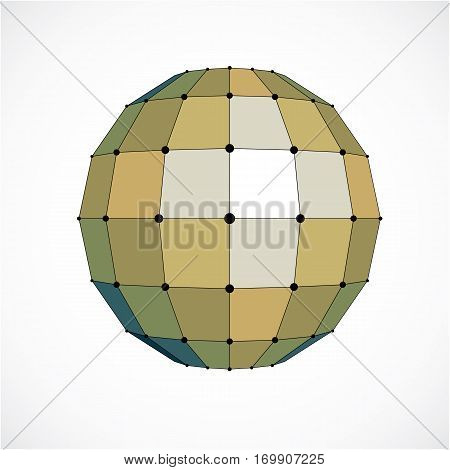 3d vector digital wireframe spherical object made using facets. Geometric polygonal yellow structure created with lines mesh and squares. Low poly shape lattice form for use in web design.