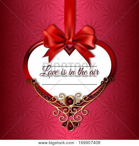Vector illustration of hanging on satin ribbon bow heart with the words love in the air, decorated with precious stones and gold on a patterned background