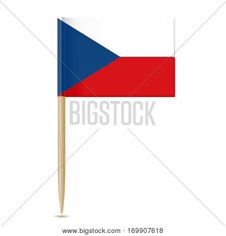 Czech Republic flag. Flag toothpick isolated on white background