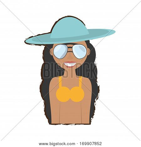 woman swimming suit and sunglasses icon, vector illustration