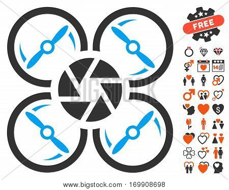 Shutter Drone pictograph with bonus decorative symbols. Vector illustration style is flat iconic symbols for web design app user interfaces.