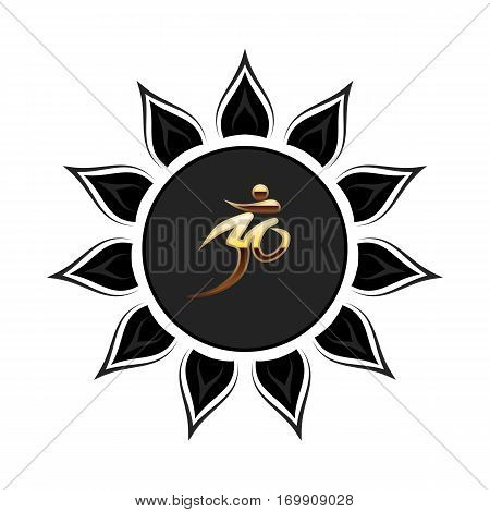 Om sign jn the black round flower. Vector icon isolated.