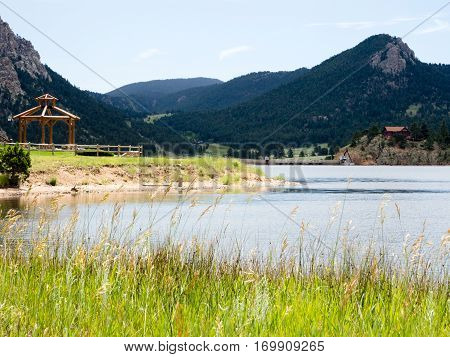Lake Estes waterfront in the town of Estes Park, Colorado