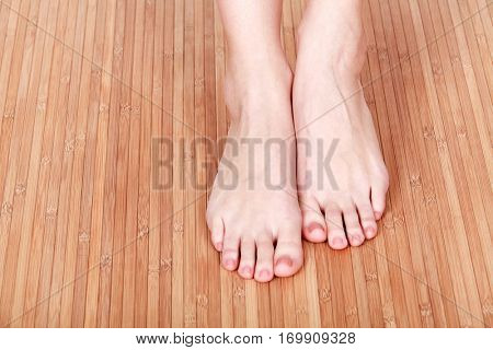 Female feet on wooden floor