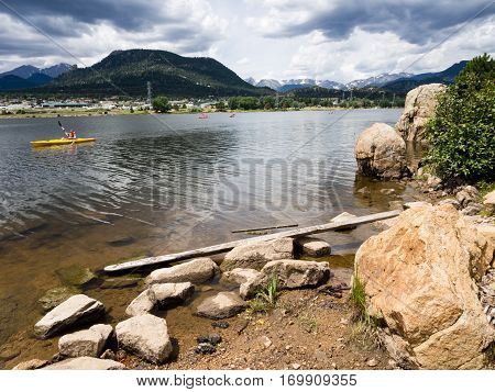 Kayakers on Lake Estes in Estes Park, Colorado