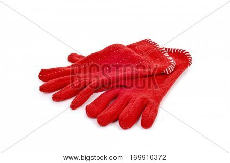 a pair of warming red fleece gloves on a white background