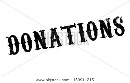 Donations rubber stamp. Grunge design with dust scratches. Effects can be easily removed for a clean, crisp look. Color is easily changed.
