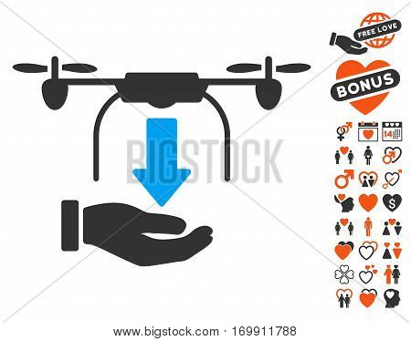 Unload Drone Hand pictograph with bonus amour clip art. Vector illustration style is flat iconic elements for web design app user interfaces.