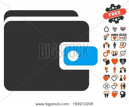 Wallet icon with bonus passion pictograph collection. Vector illustration style is flat iconic elements for web design app user interfaces.
