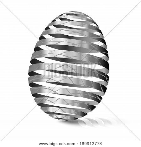 3d Silver egg with texture. Modular eggshell spaced. Happy Easter day. East tradicional gift for good luck. Stylized farm products.