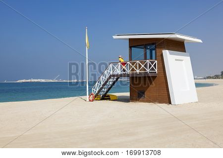 DUBAI UAE - DEC 6 2016: Lifeguard station tower at the Umm Suqeim public beach in Dubai. United Arab Emirates Middle East