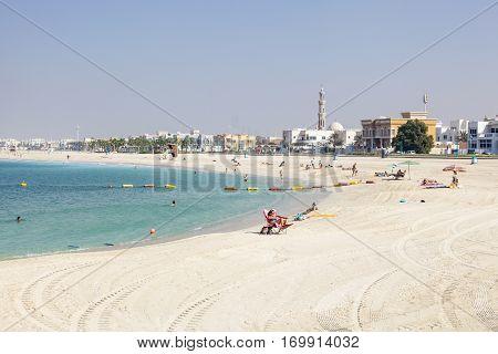DUBAI UAE - DEC 6 2016: The Umm Suqeim public beach in Dubai. United Arab Emirates Middle East