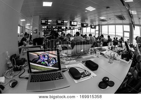 VALENCIA, SPAIN - NOV 13: Press room during Motogp Grand Prix of the Comunidad Valencia on November 13, 2016 in Valencia, Spain.