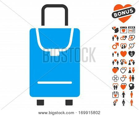 Carryon icon with bonus romantic pictograms. Vector illustration style is flat iconic symbols for web design app user interfaces.