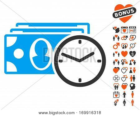 Cash Credit pictograph with bonus dating images. Vector illustration style is flat iconic symbols for web design app user interfaces.