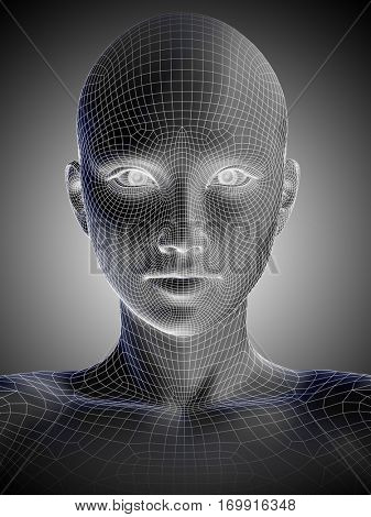 Concept or conceptual 3D illustration wireframe young human female or woman face or head on gray background for technology, cyborg, digital, virtual, avatar, model, science, fiction, future