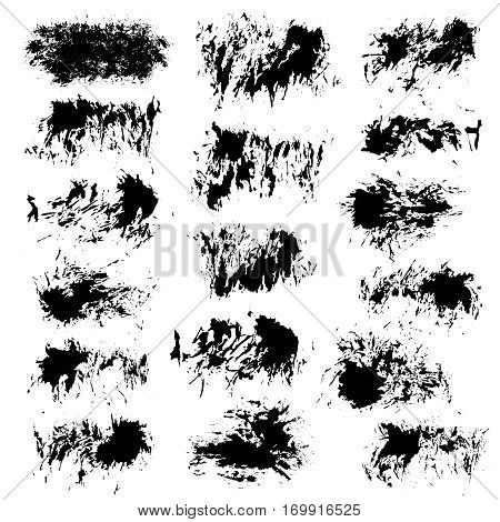 Grunge paint vector. Painted brush strokes. Textured blotch shapes. Distress texture backgrounds. Hand drawn banners, labels, frames. Black design elements. Grungy scratch effect.