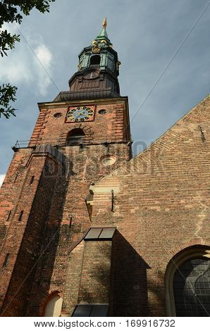 An external view of a church tower in Copenhagen