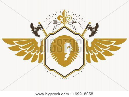 Vector retro insignia design decorated with eagle wings and made using vintage elements like hatchets and wild lion illustration