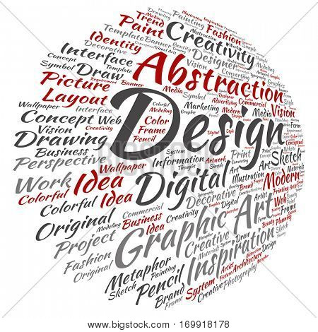 Concept conceptual creativity art graphic design visual word cloud isolated on background, metaphor to advertising, decorative, fashion, identity, inspiration, vision, perspective or modeling