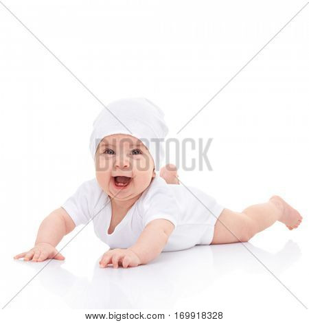Cute laughing baby isolated on white background. Happy childhood. Close up portrait of smiling baby. Fun happy laughing baby in white studio. Kid looking into the camera