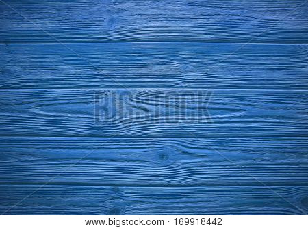 Painted blue wooden horizontal planks. Background texture with copy space