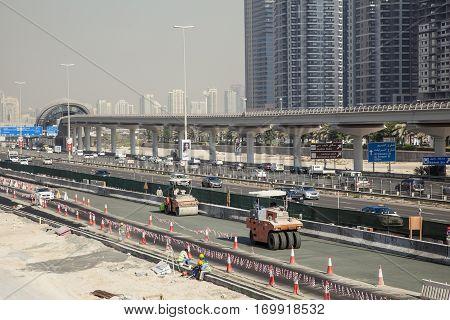 DUBAI UAE - DEC 5 2016: Construction site at the Sheikh Zayed Road in Dubai. United Arab Emirates Middle East
