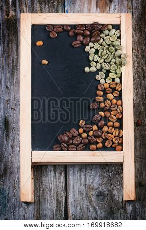 Green, Brown And Black Coffee On Chalckboard