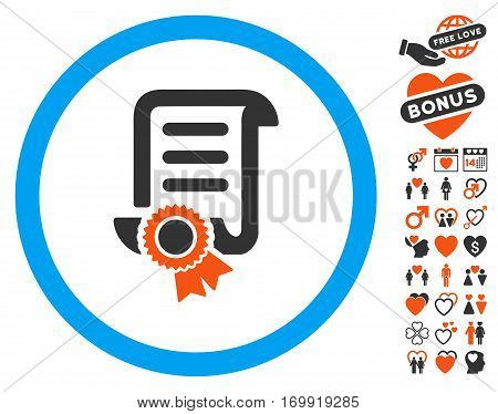 Certified Scroll Document icon with bonus lovely icon set. Vector illustration style is flat iconic elements for web design app user interfaces.