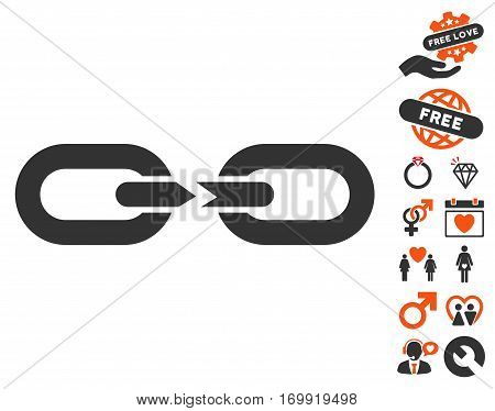 Chain Break icon with bonus passion icon set. Vector illustration style is flat iconic elements for web design app user interfaces.