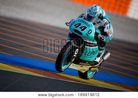 VALENCIA, SPAIN - NOV 13: Miguel Oliveira in Moto2 warm up  during Motogp Grand Prix of the Comunidad Valencia on November 13, 2016 in Valencia, Spain.