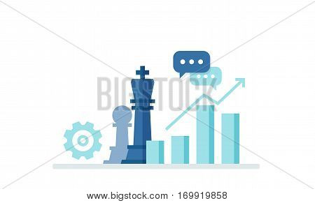 Vector strategy illustration in flat style. Business concept with icons of chess pieces, schedule, profit and purpose. Vector banner for your design.